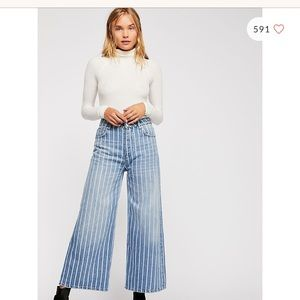 Earn your stripes free people wide leg jeans